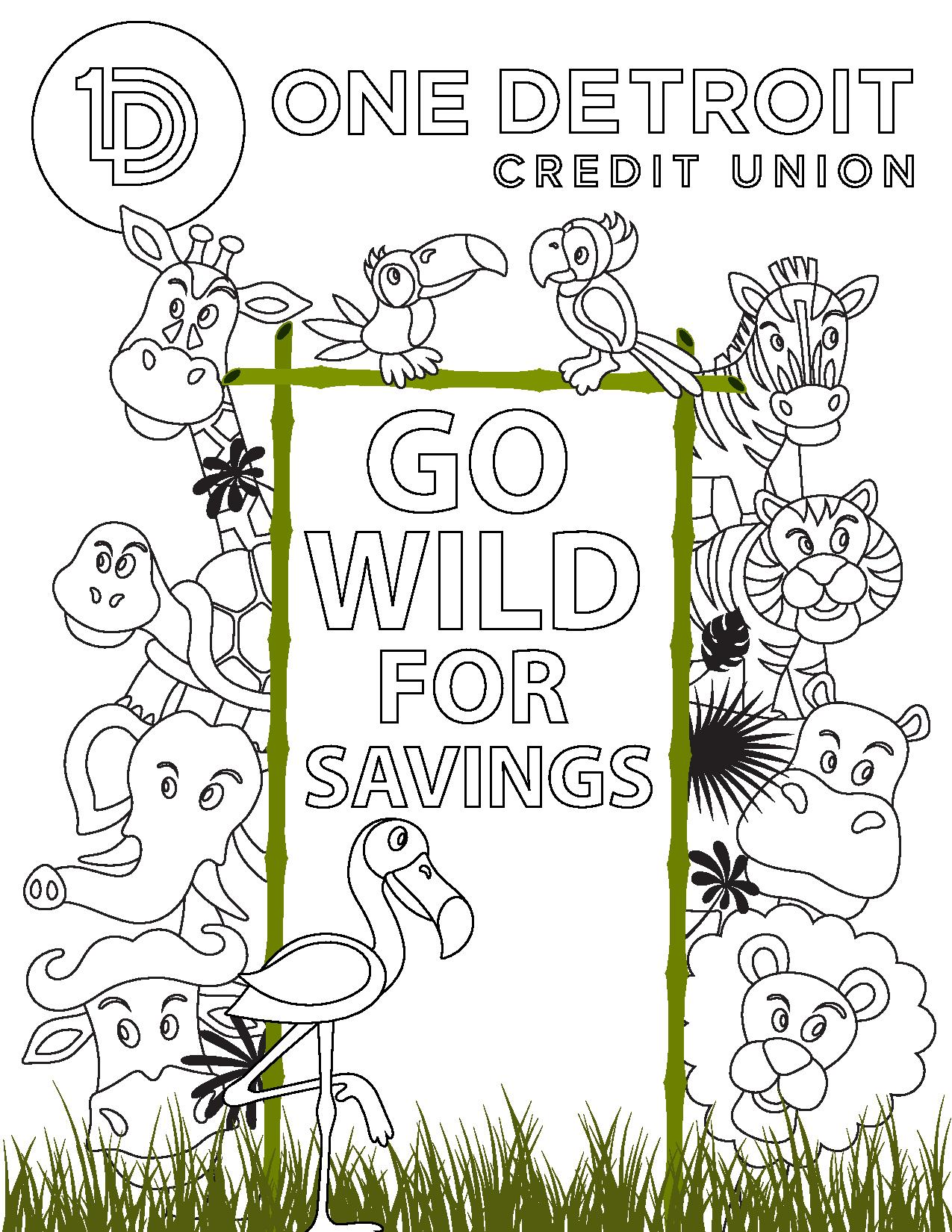 go wild for savings coloring page